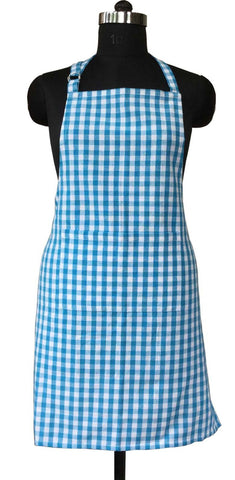Lushomes Teal Blue Gingham Checks Apron with Pocket and Adjustable Buckle