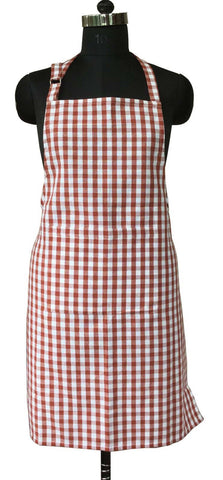 Lushomes Maroon Gingham Checks Apron with Pocket and Adjustable Buckle