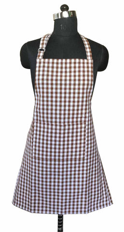 Lushomes Brown Gingham Checks Apron with Pocket and Adjustable Buckle (Size: 25‰۝x32‰۝)