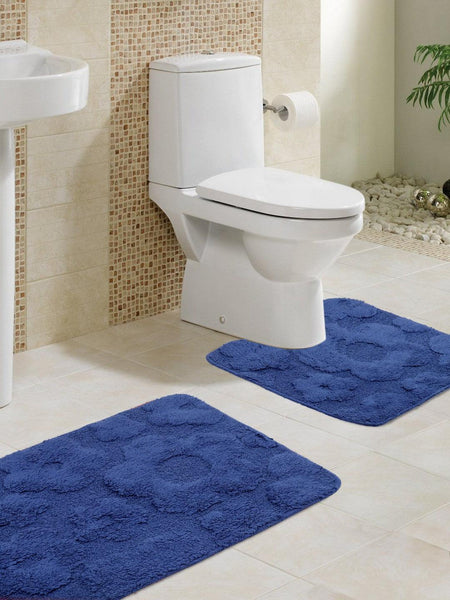 Lushomes Ultra Soft Ultramarine Large Bath Mat Set (1Pc Bathmat + 1Pc Contour)