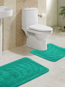Lushomes Ultra Soft Green Regular Bath Mat Set (1Pc Bathmat + 1Pc Contour)