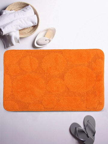 Lushomes Ultra Soft Cotton Carrot Orange Regular Bath Mat