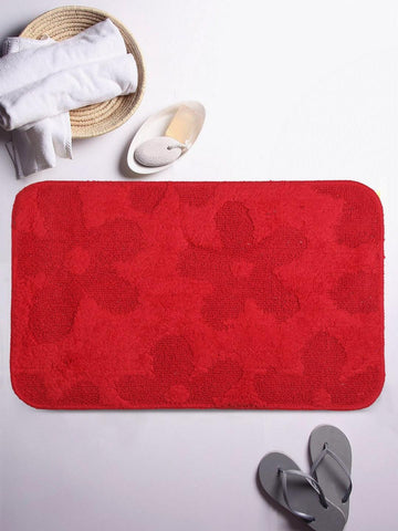 Lushomes Ultra Soft Cotton Tomato Red Regular Bath Mat