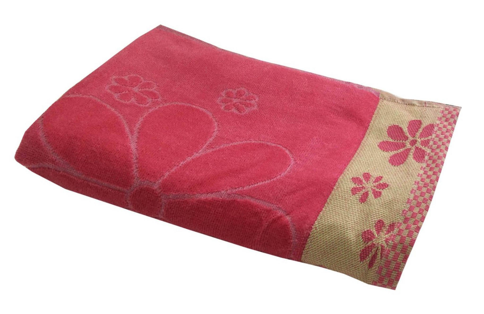 "Lushomes Pink Dove Sheered Absorbent Cotton Bath Towel with a Premium Border (28' x 58"" or 71 x 147 cms, single pc)"