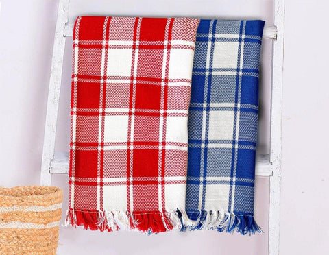 Lushomes Red & Blue Cotton Full Size Bath Towel Checks Combo of Good Quality (Pack of 2, Size 70 x 150 cms)