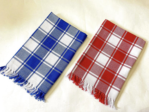 Lushomes Red & Blue Cotton Full Size Bath Towel Checks Combo of Good Quality (Pack of 2, Size 70 x 150 cms) - Lushomes
