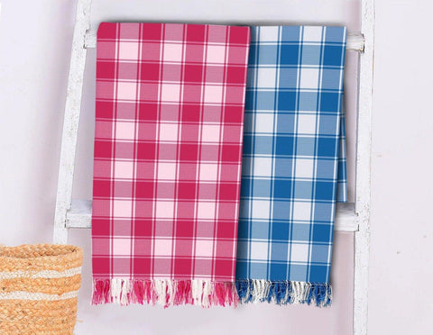Lushomes Blue & Rose Cotton Full Size Bath Towel Checks Combo of Good Quality (Pack of 2, Size 70 x 150 cms)