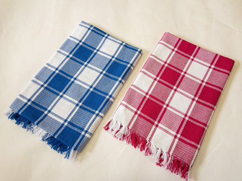Lushomes Blue & Rose Cotton Full Size Bath Towel Checks Combo of Good Quality (Pack of 2, Size 70 x 150 cms) - Lushomes