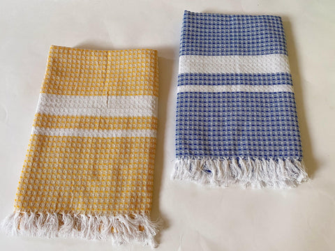 Lushomes Blue & Yellow Cotton Full Size Bath Towel Checks Combo of Good Quality (Pack of 2, Size 70 x 150 cms) - Lushomes