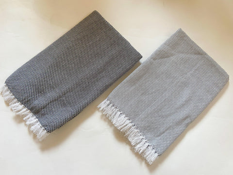 Lushomes Grey Dobby Weave  Cotton Full Size Bath Towel Checks Combo of Good Quality (Pack of 2, Size 70 x 145 cms)