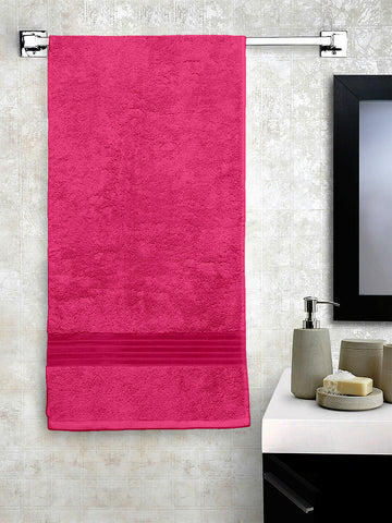 Lushomes Dark Pink Superior Soft & Absorbent Cotton Bath Towel (70 x 150 cms, 500 Grams)