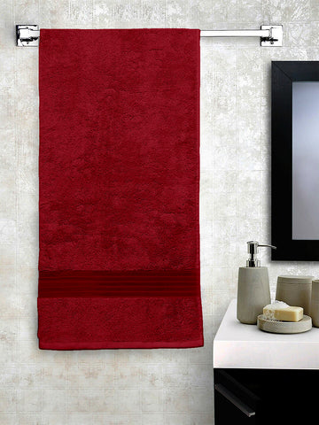 Lushomes Maroon SuperiorSoft & Absorbent Cotton Bath Towel (70 x 150 cms, 500 Grams)