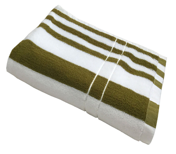 Lushomes Olive Green Hospitality Ultra-Silky stripe Cotton Bath Towel (30 x 60 or 76 x 152 cms, 450 GSM)