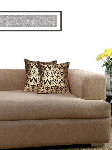 Lushomes Black Cushion Covers with Gold Foil Print (Pack of 2)