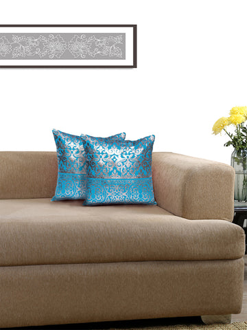 Lushomes Turquoise Cushion Covers with Silver Foil Print (Pack of 2)