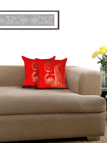 Lushomes Red Cushion Covers with Gold Foil Print (Pack of 2)