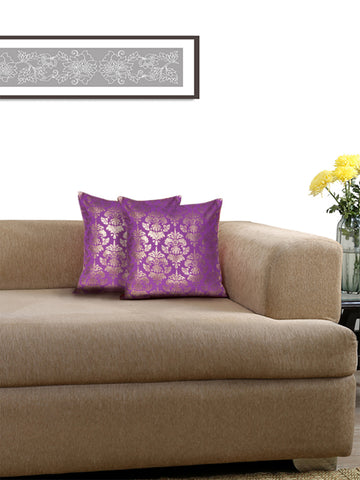 Lushomes Violet Cushion Covers with Gold Foil Print (Pack of 2)