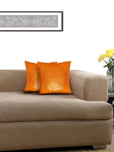 Lushomes Dark Orange Cushion Covers with Gold Foil Print (Pack of 2)