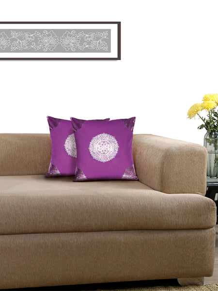 Lushomes Violet Cushion Covers with Silver Foil Print (Pack of 2)