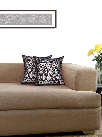 Lushomes Black Cushion Covers with Silver Foil Print (Pack of 2)