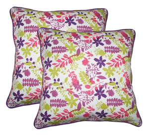 "Lushomes Purple Print Cotton Cushion Covers (Size 12"" x 12"") Pack of 2"
