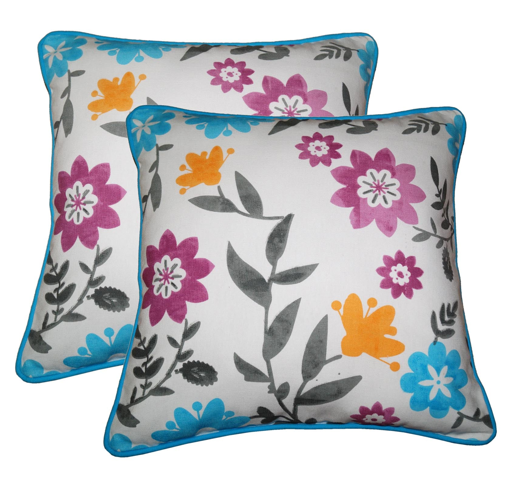 "Lushomes Flower Print Cotton Cushion Covers (Size 12"" x 12"") Pack of 2"