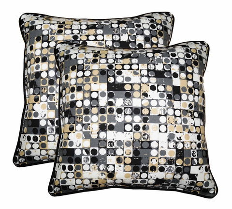 "Lushomes Coins Print Cotton Cushion Covers (Size 12"" x 12"") Pack of 2"