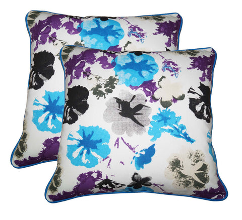 "Lushomes Watercolor Print Cotton Cushion Covers (Size 12"" x 12"") Pack of 2"