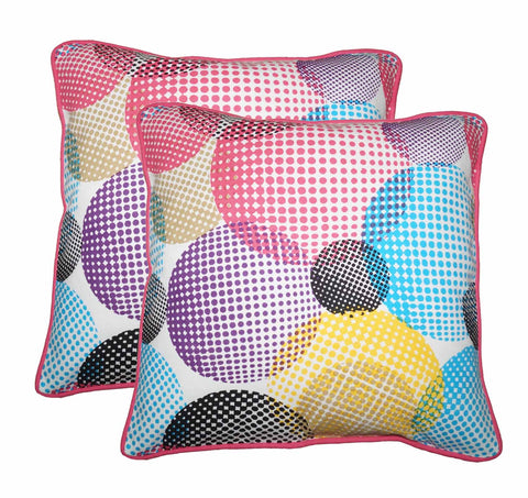 "Lushomes Circles Print Cotton Cushion Covers (Size 16"" x 16"") Pack of 2"