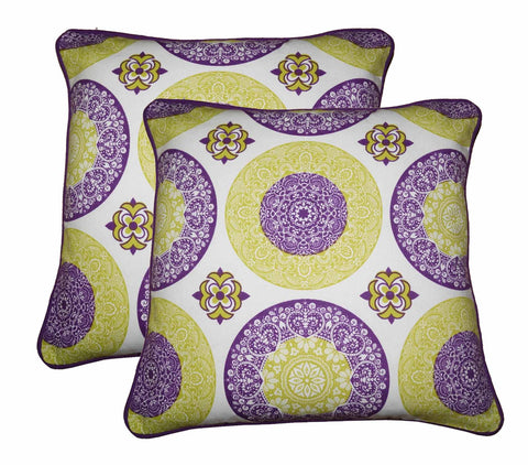 "Lushomes Bold Print Cotton Cushion Covers (Size 16"" x 16"") Pack of 2"