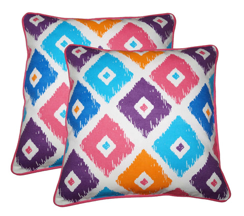 "Lushomes Square Print Cotton Cushion Covers (Size 16"" x 16"") Pack of 2"
