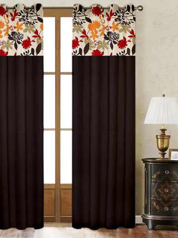 Lushomes Leaf Printed Bloomberry Cotton Curtains with 8 Eyelets & Printed Tiebacks for Door (Single Pc) Size: 54x90 inches
