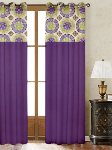 Lushomes Bold Printed Bloomberry Cotton Curtains with 8 Eyelets & Printed Tiebacks for Door (Single Pc) Size: 54x90 inches