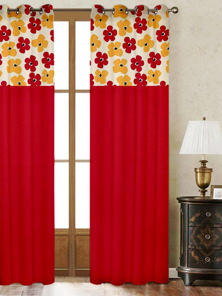Lushomes Basic Printed Bloomberry Cotton Curtains with 8 Eyelets & Printed Tiebacks for Door (Single Pc) Size: 54x90 inches