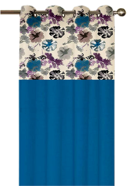 Lushomes Watercolor Printed Bloomberry Cotton Curtains with 8 Eyelets & Printed Tiebacks for Door (Single Pc) Size: 54x90 inches