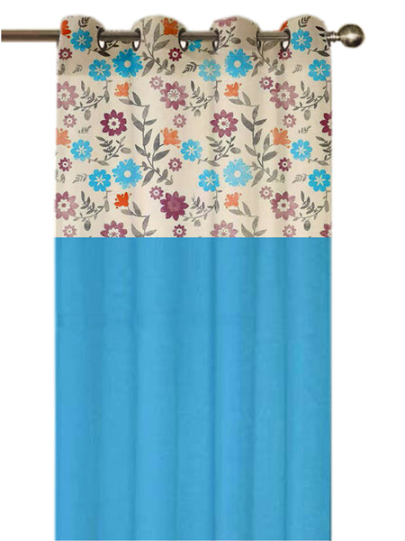 Lushomes Flower Printed Bloomberry Cotton Curtains with 8 Eyelets & Printed Tiebacks for Long Door (Single Pc) Size: 54x108 inches