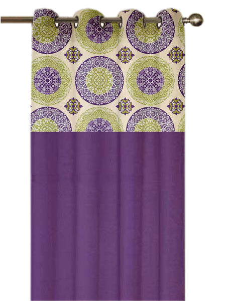 Lushomes Bold Printed Bloomberry Cotton Curtains with 8 Eyelets & Printed Tiebacks for Long Door (Single Pc) Size: 54x108 inches