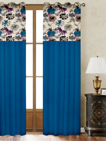 Lushomes Watercolor Printed Bloomberry Cotton Curtains with 8 Eyelets & Printed Tiebacks for Long Door (Single Pc) Size: 54x108 inches