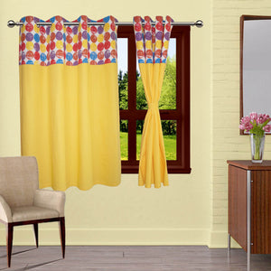 Lushomes Titac Printed Bloomberry Cotton Curtains with 8 Eyelets & Printed Tiebacks for Windows (Single Pc)