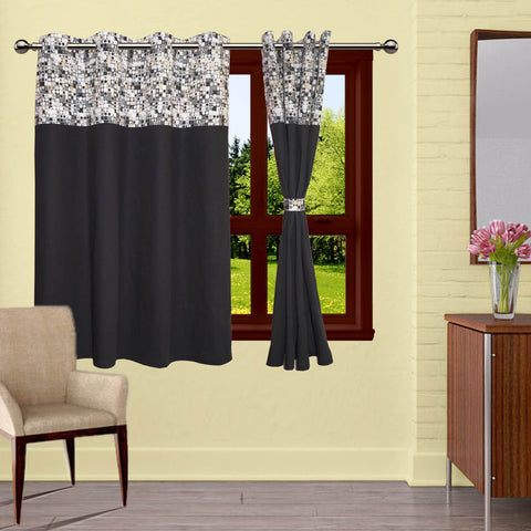 Lushomes Coins Printed Bloomberry Cotton Curtains with 8 Eyelets & Printed Tiebacks for Windows (Single Pc)