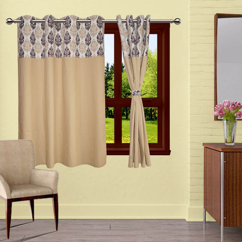 Lushomes Earth Printed Bloomberry Cotton Curtains with 8 Eyelets & Printed Tiebacks for Windows (Single Pc)