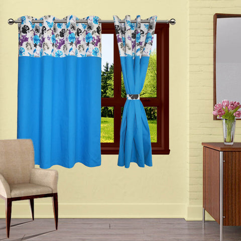 Lushomes WatercolorPrinted Bloomberry Cotton Curtains with 8 Eyelets & Printed Tiebacks for Windows (Single Pc)