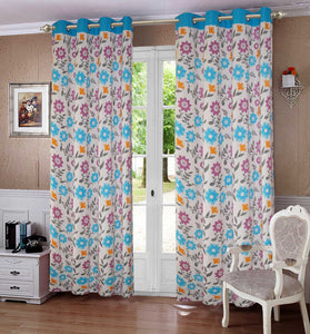 Lushomes Flower Printed Cotton Curtains with 8 Eyelets & Plain Tiebacks for Door (Single Pc) Size: 54x90 inches