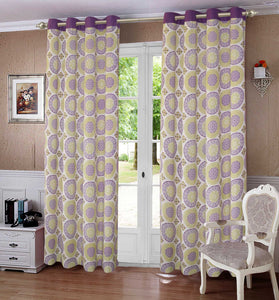Lushomes Bold Printed Cotton Curtains with 8 Eyelets & Plain Tiebacks for Door (Single Pc) Size: 54x90 inches