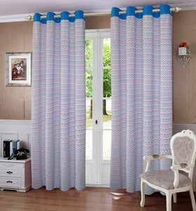 Lushomes Diamond Printed Cotton Curtains with 8 Eyelets & Plain Tiebacks for Long Door (Single Pc) Size: 54x108 inches