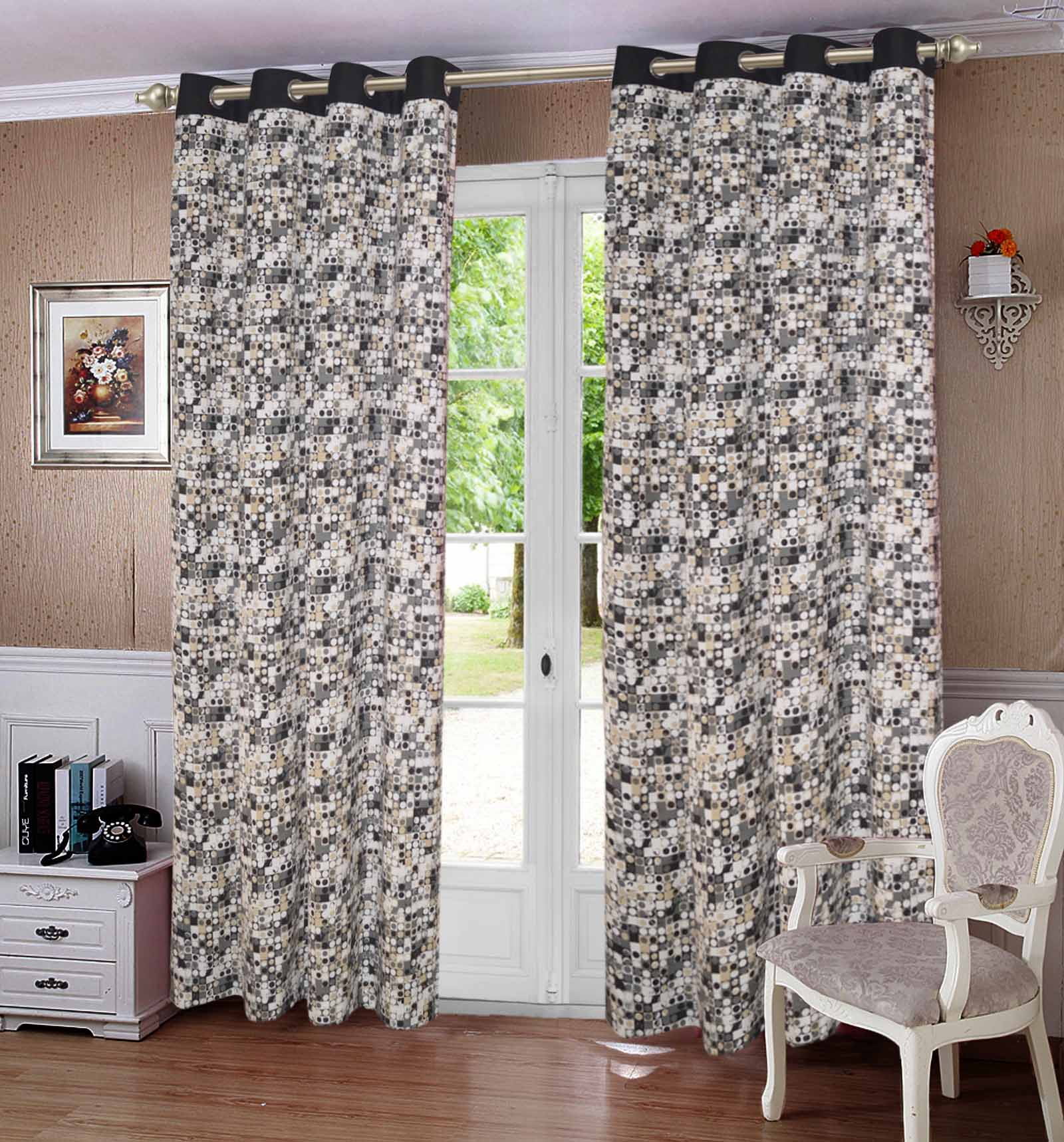 Lushomes Coins Printed Cotton Curtains with 8 Eyelets & Plain Tiebacks for Long Door (Single Pc) Size: 54x108 inches