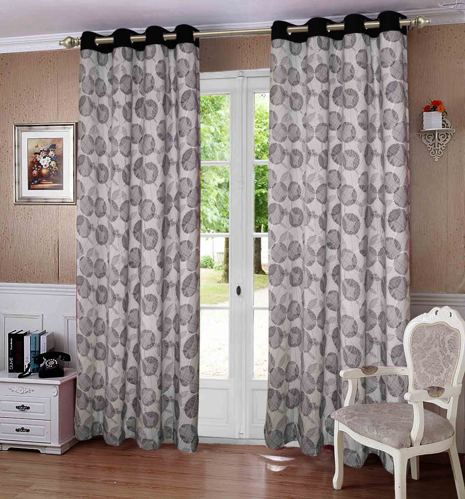 Lushomes Geometric Printed Cotton Curtains with 8 Eyelets & Plain Tiebacks for Long Door (Single Pc) Size: 54x108 inches
