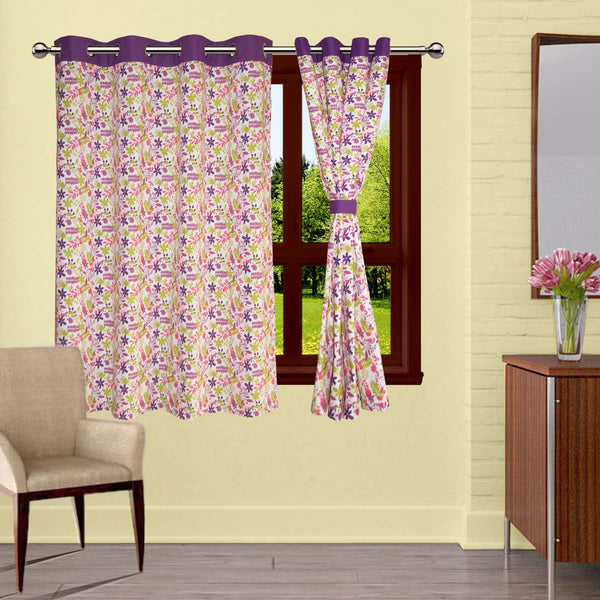 Lushomes Purple Rain Printed Cotton Curtains with 8 Eyelets & Plain Tiebacks for Windows (Single Pc)
