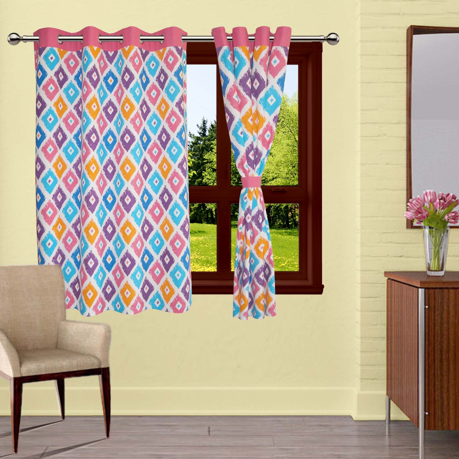 Lushomes Square Printed Cotton Curtains with 8 Eyelets & Plain Tiebacks for Windows (Single Pc)
