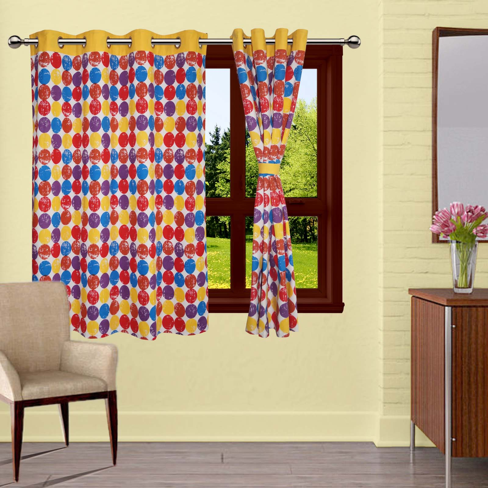 Lushomes Titac Printed Cotton Curtains with 8 Eyelets & Plain Tiebacks for Windows (Single Pc)